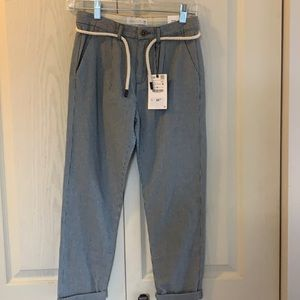 Zara NWT pinstriped rope belted pants